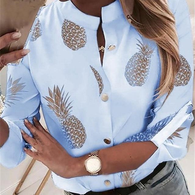 2020 New Pineapple Blouse Shirt Women Autumn Summer Casual Tops Outwear Fashion Button Fruit Print Blouse Shirts Female Clothes 2