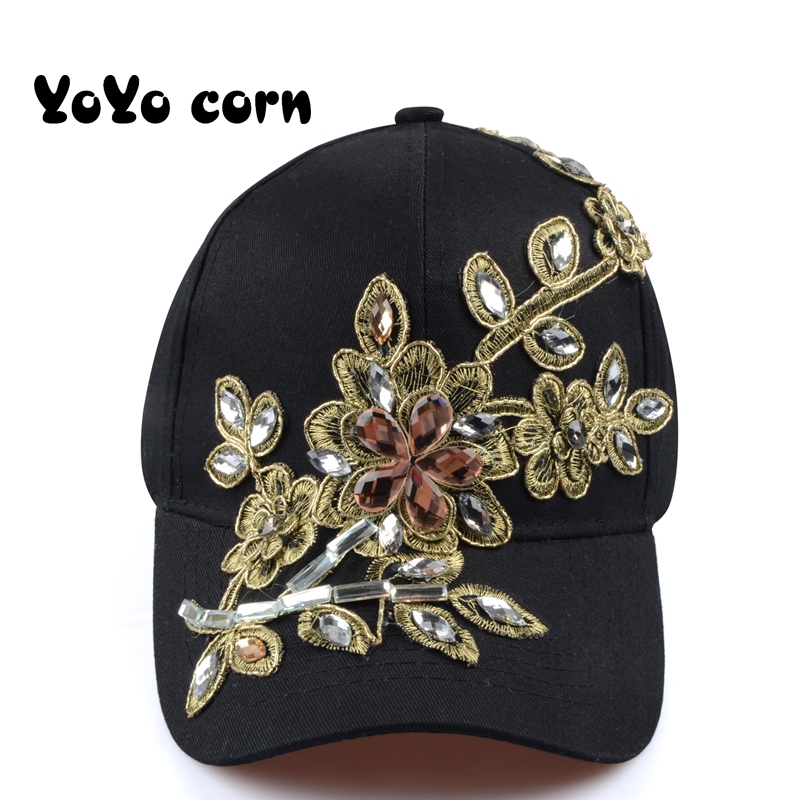 YOYOCORN Baseball Cap With Flower Canvas Snapback Caps For Women Female Cap Hat High Quality Rhinestone Denim Cap in Women 39 s Baseball Caps from Apparel Accessories