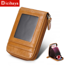 DICIHAYA Men Credit Bank Card Holder Wallet Case Card Holder Wallet Case Card ID Holders Business Card Holder Zipper MINI Wallet cheap Genuine Leather Cow Leather Solid FX-8291 11 5cm Card ID Holders Pillow 0 07kg Credit Card Cowhide