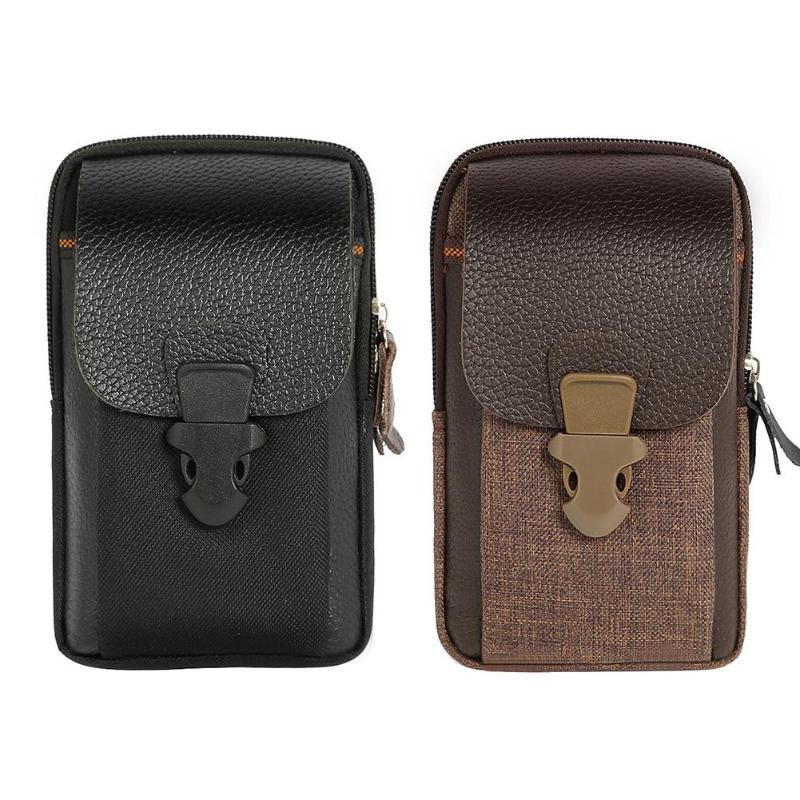 Zipper Men Waist Bags Small Card Holder 6 Inch Phone Packs Belt Fanny Purse
