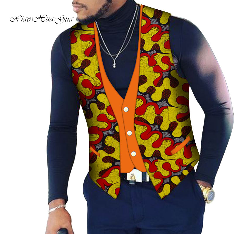 Custom Mens Top Clothing Bazin Riche Patchwork Print Top Vest 100% Cotton Dashiki Traditional African Clothing WYN107