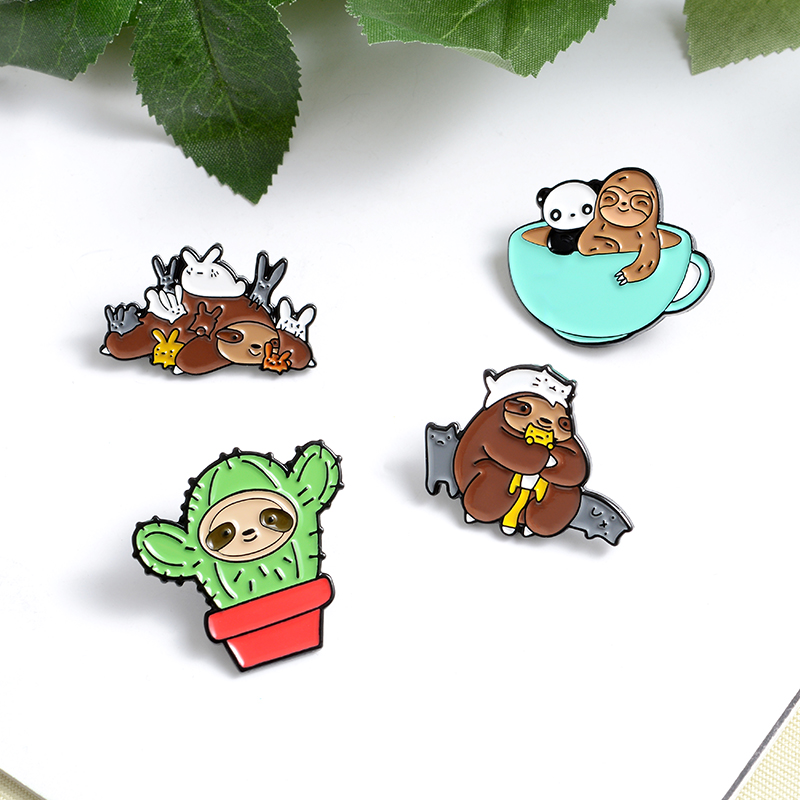 3~4pcs/set Cuty Animal Baby Enamel Pin Koala T-Rex Brooch Lapel Pin Dog Cat Badge Sloth Magic Ball Jewelry Gift amazing price 5