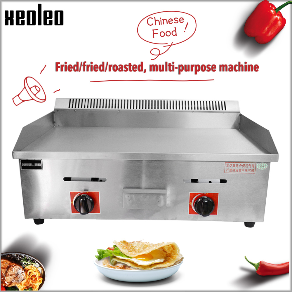 XEOLEO Commercial Gas Grill Teppanyaki Griddle Flat Plate Griddle  Grilled Squid Machine Stainless Steel Pancakes/Steak Grill