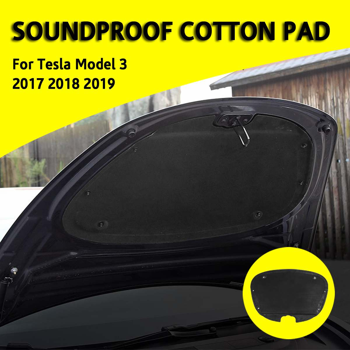 Front Engine Hood Noise Reduction Mat Soundproof Cotton Pad For Tesla Model 3