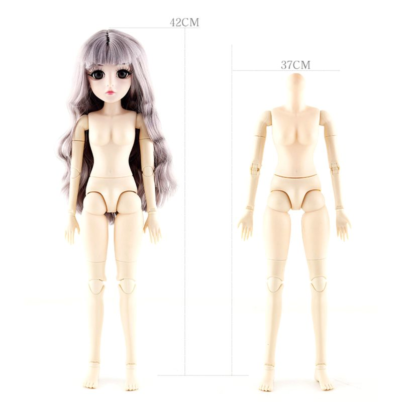 42 Cm <font><b>Bjd</b></font> Doll 24 Ball Jointed Doll DIY Naked Body Curly Straight Hair Girl's P31B image