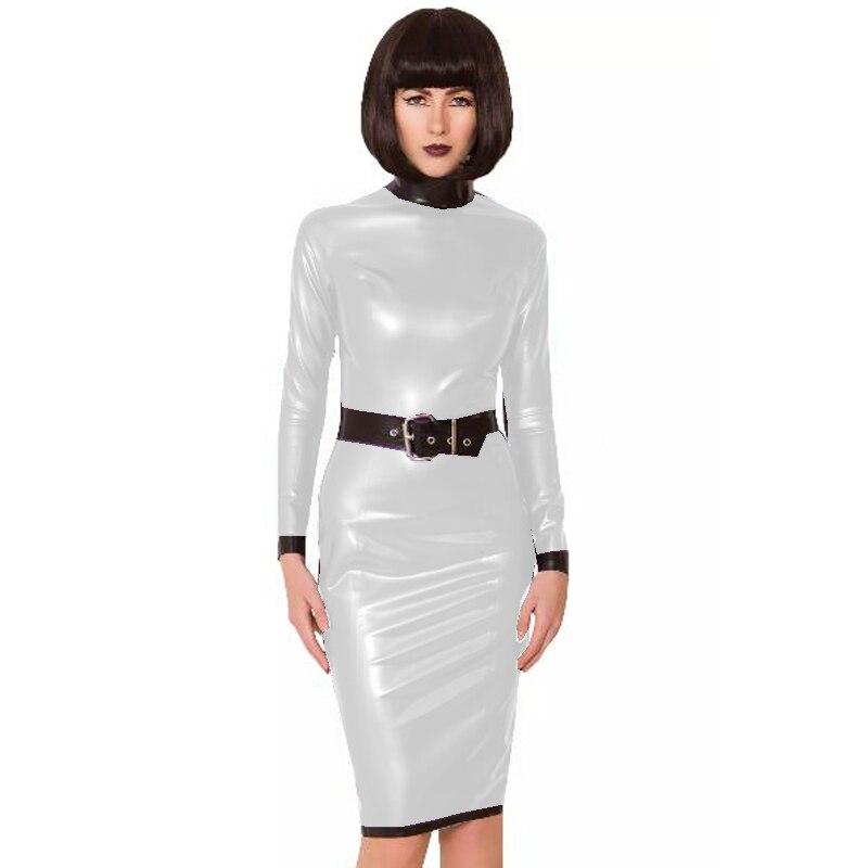 24 Colors Back Zipper Long Sleeve Knee Length Dress Lady Slim Vestido Fashion Patchwork Color Midi Dress Sexy Stage PVC Clubwear 23