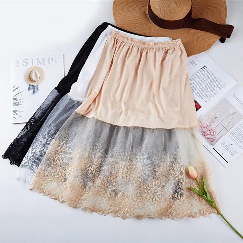 Women Lace Slip Skirt Extender Knee Length A-Line Half Slip Extenders Petticoat ZJM9261
