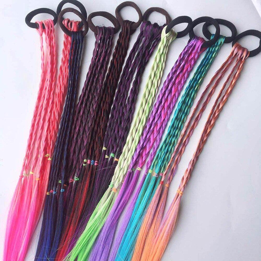 1pc proste dziecko elastyczna opaska do włosów gumka akcesoria do włosów kolorowe dzieci peruka pałąk dziewczyny Twist Braid stroik dziecko prezent