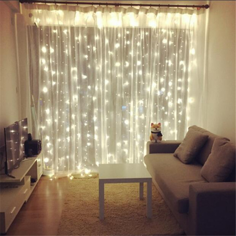 AC220V 3M Width X 2M Height 180LED Christmas Garlands String Christmas Light Party Garden Wedding Decor Curtain Fairy Lights