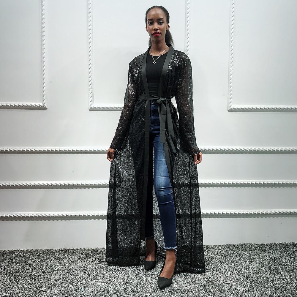 Black Sequin Abaya Dubai Kimono Hijab Muslim Dress Saudi Arabia African For Women Kaftan Turkish Islam Clothing Caftan Marocain