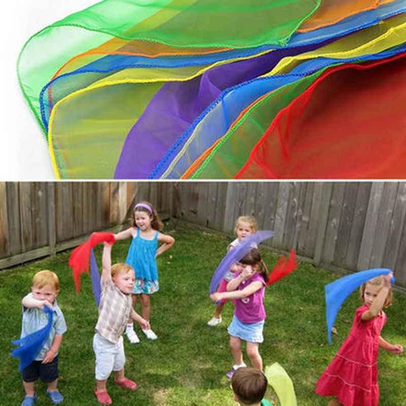 เด็กเด็กอนุบาลเต้นรำผ้าพันคอ Bright Candy สีลวดทอง Juggling การเคลื่อนไหวผ้าพันคอ Kerchief Props