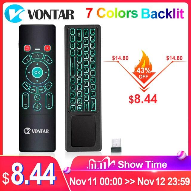 VONTAR T6 Plus Backlit 2.4Ghz chuột Bàn Phím Không Dây mini & Bàn di chuột Điều Khiển từ xa dành cho Android TV Box Mini máy Chiếu cho PC