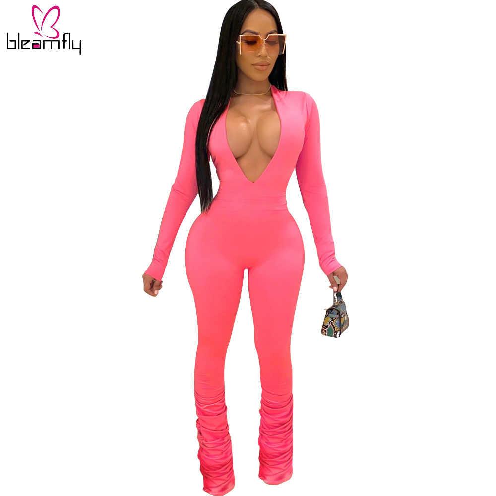 2020 lato kobiety głębokie V Neck z długim rękawem kombinezon Sexy klub nocna impreza kombinezony plisowana Streetwear jeden kawałek ogólnie dla pani