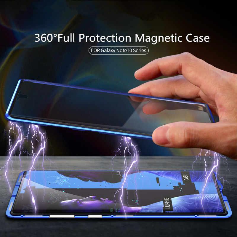 Caixa magnética de metal para samsung galaxy note 10 plus 8 9 s8 s10 mais s9 s10e dupla face vidro temperado tampas móveis de proteção