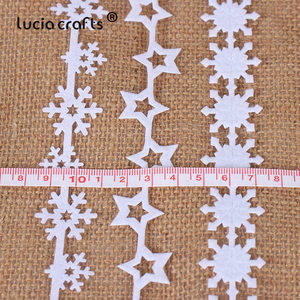 Image 5 - 5yards 25/35mm Non woven Ribbons Fabric Star Snowflake Trim Lace DIY Crafts Hanging New Year Christmas Tree Decoration B1209