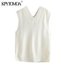KPYTOMOA-suéter tejido tipo chaleco para mujer, moda suelta, Vintage, sin mangas, con orificios laterales, Tops Chic, 2020