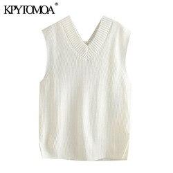 KPYTOMOA Women 2020 Fashion Loose Knitted Vest Sweater Vintage Sleeveless Side Vents Female Waistcoat Chic Tops