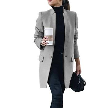 Ladies Woolen Coat Female Mid-Long Wool Pocket Autumn Winter Women abrigo mujer Slim Type Jackets Outwear D25
