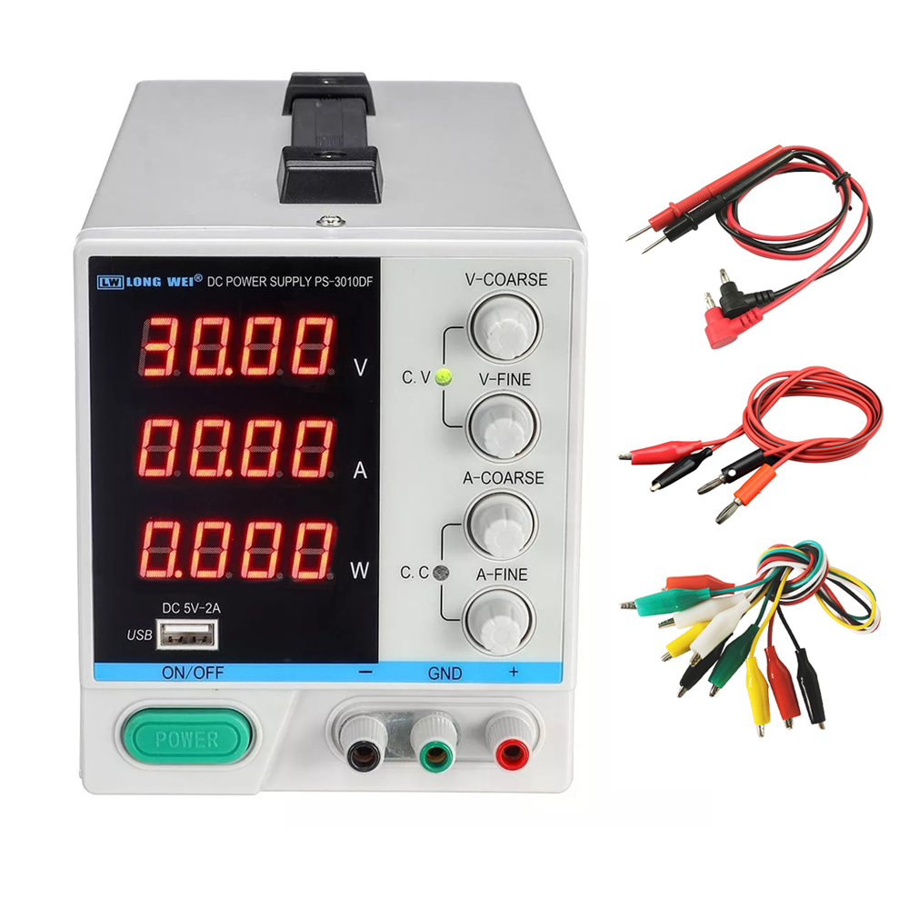 New PS-3010DF DC Power Supply Adjustable 30V 10A 4 Digit Display USB Charging Repair Switching Regulator Laboratory Power Supply
