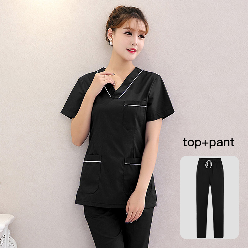 Doctor Suit Hospital Dental Grown Women & Man Surgery Work Clothes Short Sleeves Nurse Uniform Solid Color Medical Scrubs Set