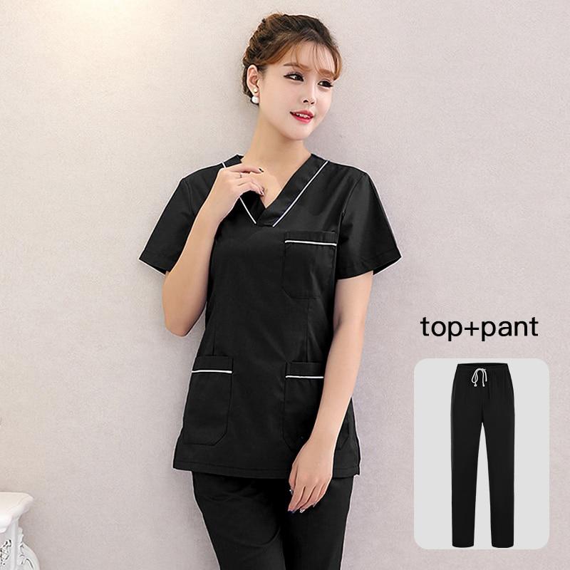 Doctor Suit Hospital Dental Grown Women & Man Surgery Work Clothes Short Sleeves Nurse Uniform Solid Color Medical Scrubs Set