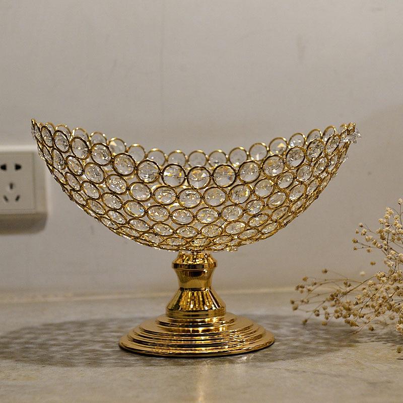 European Glass Fruit Bowl Candy Jar Set Crystal Classical Fruit Plate Ornaments Home Livingroom Table Decoration Crafts