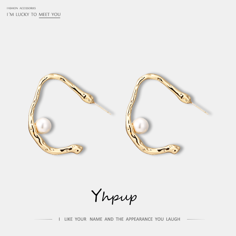 Yhpup Trendy Copper Simple Design C Shape Stud Earrings Shell Paerls Chic Temperament Charm Earrings for Female Party pendientes image