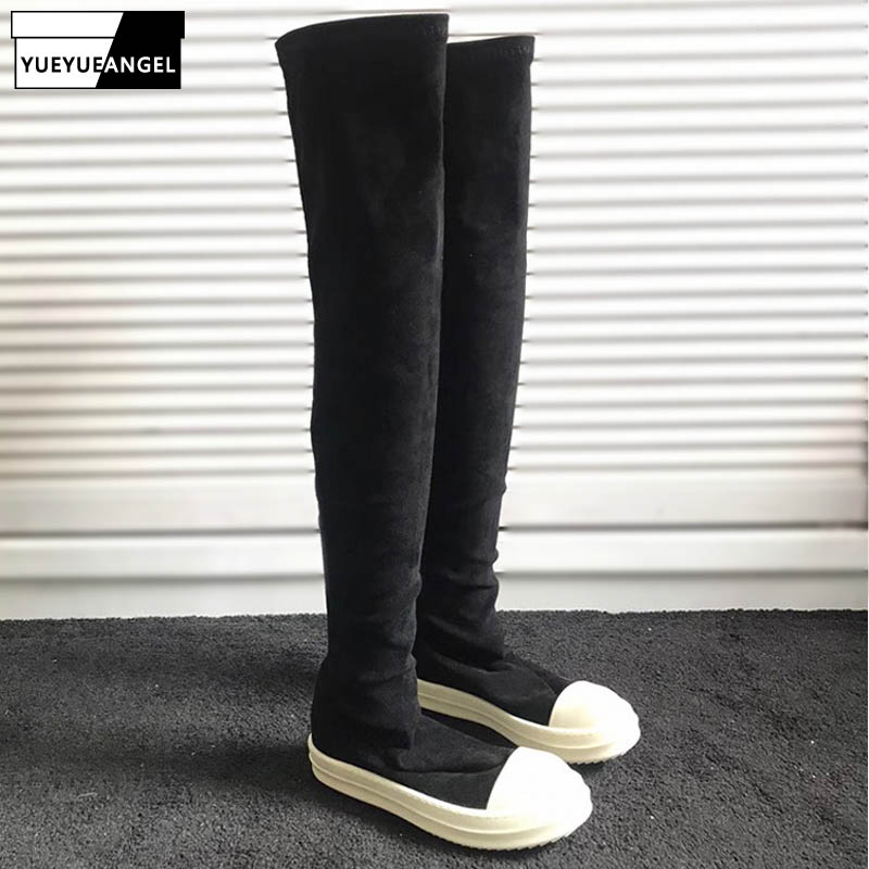 Women Shoes Over The Knee High Boots Luxury Sneakers Elastic Genuine Sheepskin Long Boots Casual Flats Platform Winter Booties