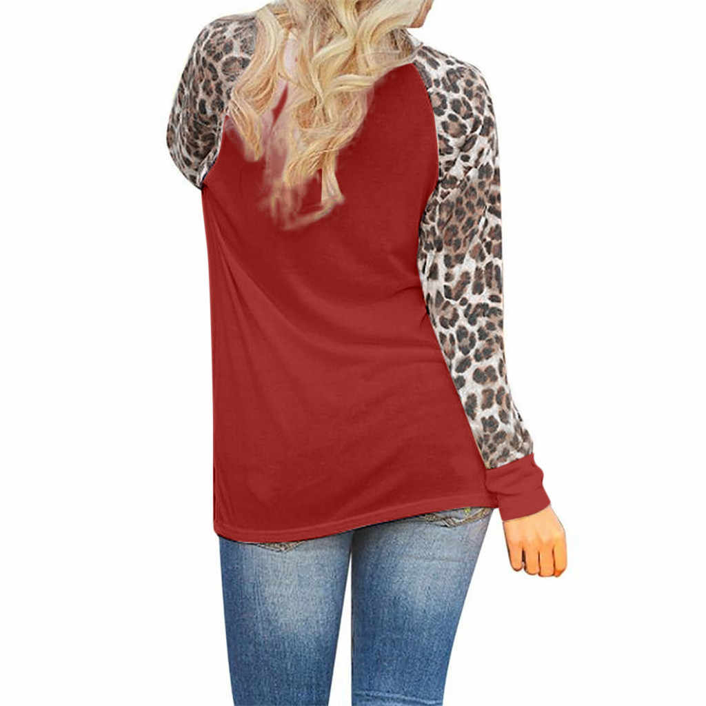 Talla grande otoño mujer blusa moda leopardo cuello redondo de manga larga blusa Casual Patchwork suelta mujer pulóver blusa Tops