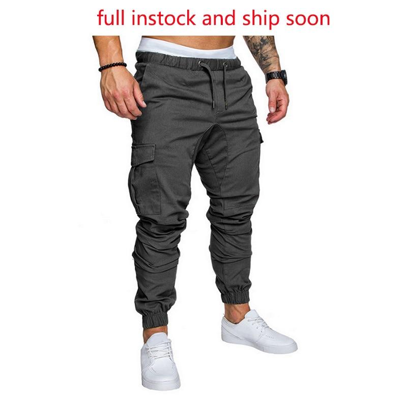 Puimentiua Men's Cargo Pants Autumn Casual Drawstring Long Trousers With Pockets Pantalones Hombre