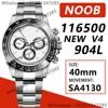 Men's Chronograph Watch Daytona 40MM 116500 Brown Ceramic Bezel Noob 1:1 Best Edition 904L SS Case Bracelet White Dial SA4130 V4 1