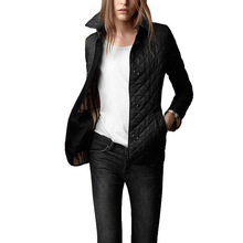 Hot Selling Small Cotton-padded Clothes Fold-down Collar Single Breasted Slim Fit Faux Silk Cotton Coat Quilted Cotton Plai