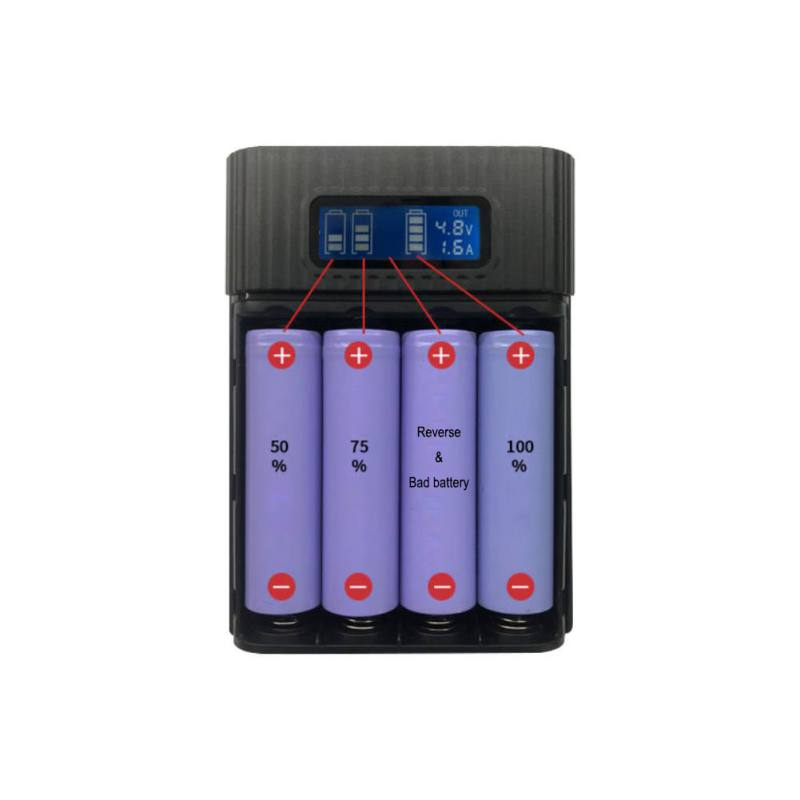 SUPER DEALS: DIY: LCD Display Battery Bank with four independent slots for 18650