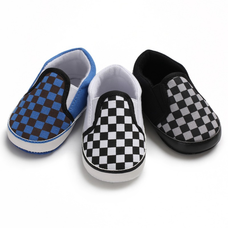 Spring Autumn Baby Boy Plaid Pattern Anti-Slip Shoes Toddler Casual Sneakers Walking Shoe Soft Soled