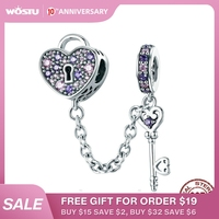 WOSTU 925 argent Sterling clé de coeur serrure cristal CZ chaîne perles breloques pour Bracelet et Bracelet femmes bijoux de mode CQC772