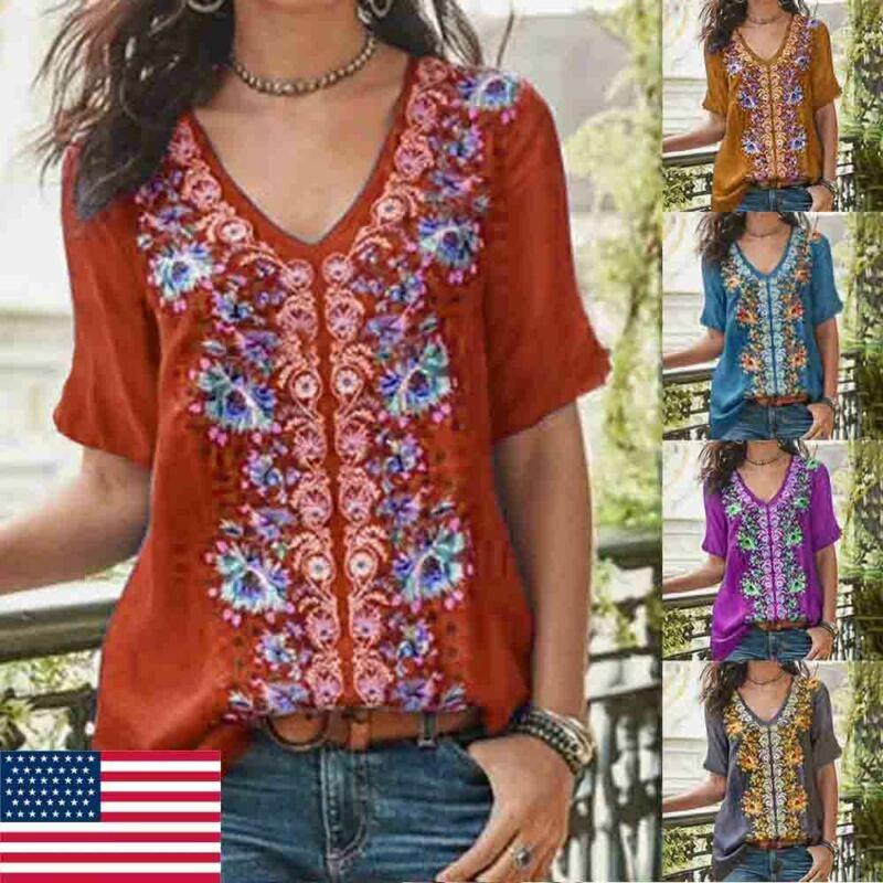 Autumn Fashion New 2019 Women Summer High Floral Printed T-Shirt Ladies V-Neck Short Sleeve Boho Loose T-Shirt Size