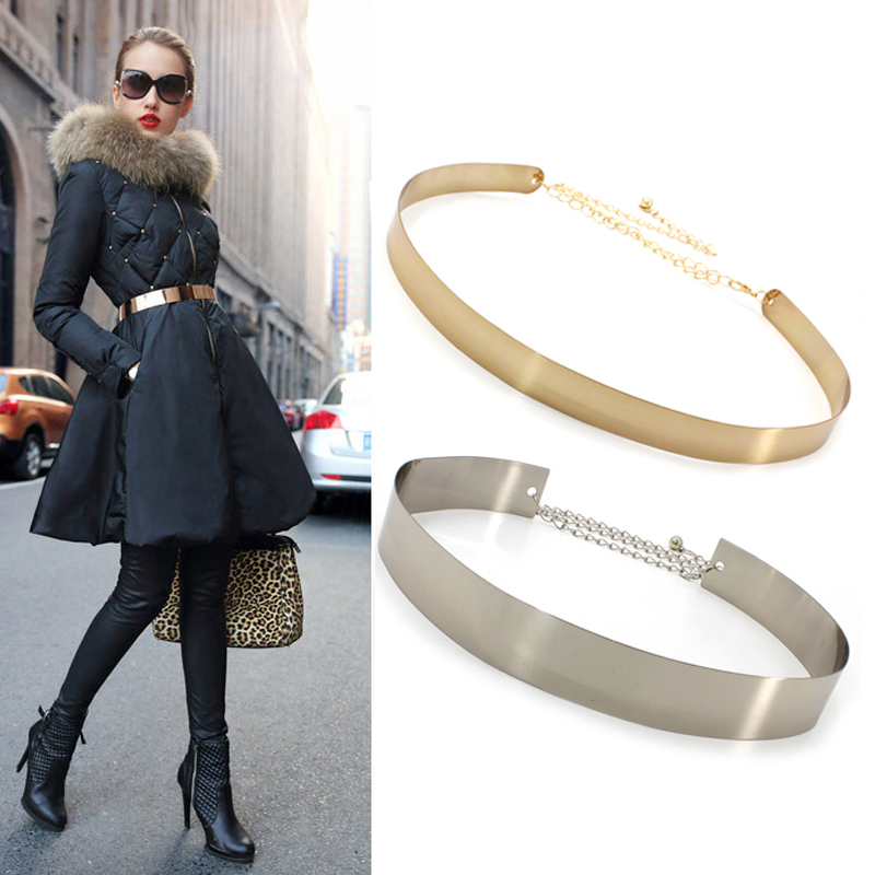 Women Punk Full Metal Mirror Skinny Waist Belt 2019 Metallic Gold Plate 3cm Wide Chains Lady Ceinture Sashes For Dresses