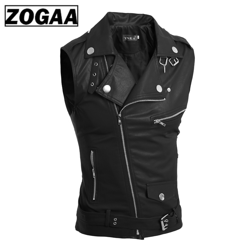 ZOGAA Fashion 2018 Summer Sleeveless Pu Leather Motorcycle Waistcoat Men Good Quality Leather Vest Men Slim Fit Size 2xl