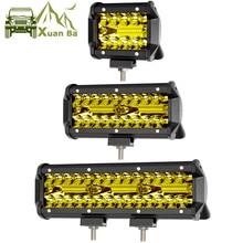Führte Arbeit Licht Bar 4x4 Off road Für ATV Auto 12V 24V Offroad Lkw 4WD Suv uaz Motorrad Fahren Barra Lichter Bernstein Nebel Lampe