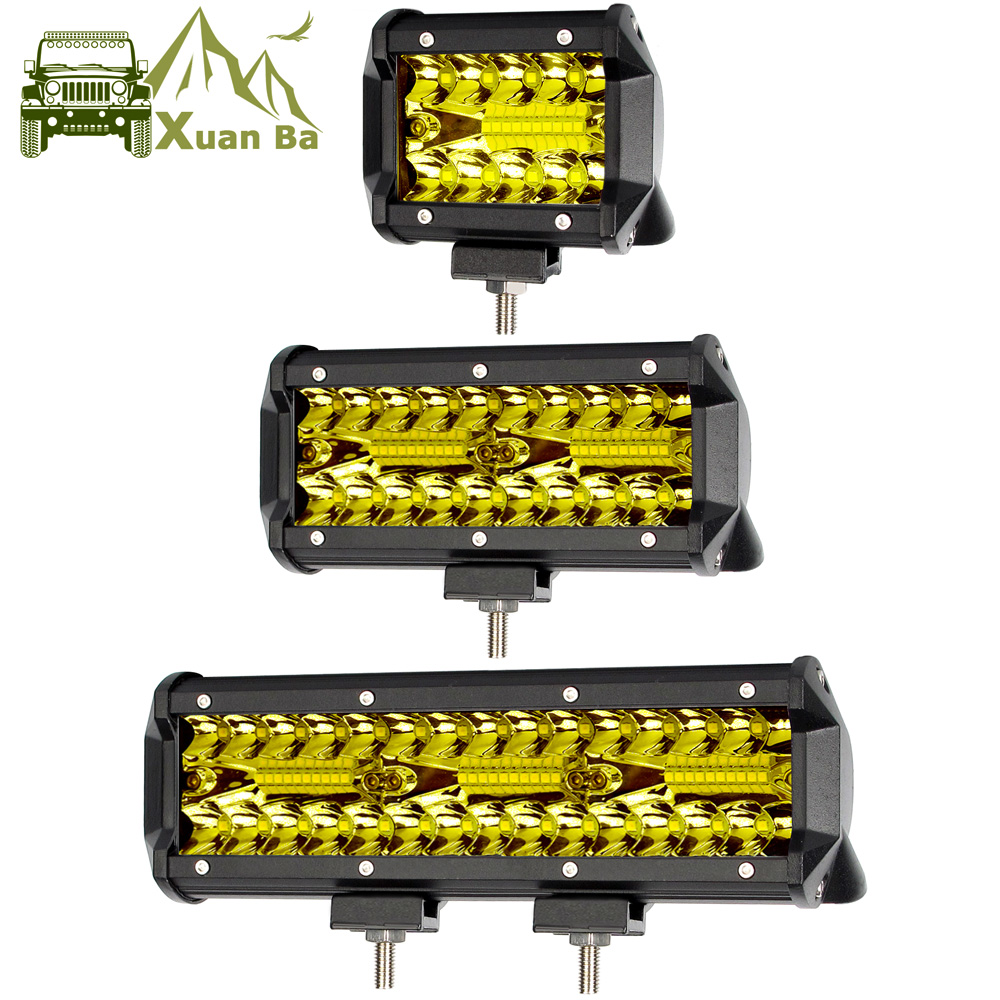 Led Work Light Bar 4x4 Off road For ATV Car 12V 24V Offroad Truck 4WD Suv Uaz Motorcycle Driving Barra Lights Amber Fog Lamp-in Light Bar/Work Light from Automobiles & Motorcycles