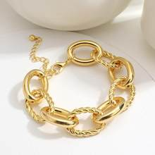 Flashbuy ouro cor torcido corda corrente pulseira chunky largo grosso correntes pulseiras para feminino minimalista pulseira instajewelry