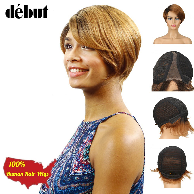 Debut U Part Lace Wigs For Women 100% Human Hair Short Wigs Remy Brazilian Hair 613 Blonde Short Hair Wigs Natural Ladies Gifts