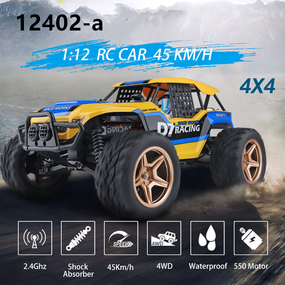 WlToys 12402A D7 1/12 RC Car 2.4G 4WD USB Buggy Crawler Car 550 Motor 45Km/h High Speed Off-Road All Terrain Rock Climb Vehicle