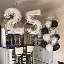 Balões de látex, 13 peças 25 anos de idade, adulto, festa de aniversário, decoração, 40 polegadas, número, metálico, prata, preto