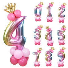 13Pcs/set Birthday Balloons Rainbow Number Foil Balloons Kid