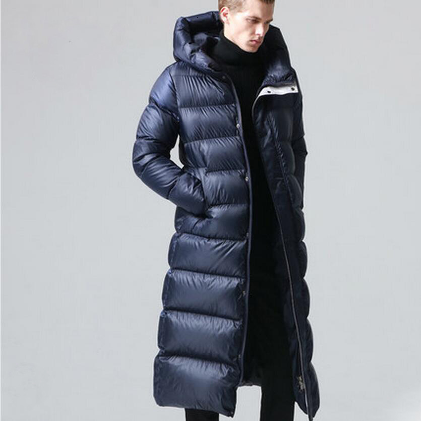 New Men's Long Slim Goose Down Coat Men Winter Warm Down Parkas Outerwear With Hood Waterproof Material FG4Y87995