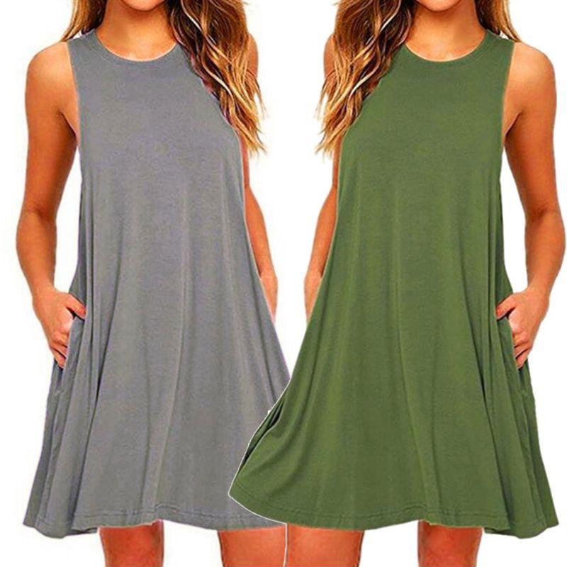 Женские летние повседневные платья футболки 2020, Пляжное Платье с карманами, свободное платье футболка большого размера|Платья|   | АлиЭкспресс