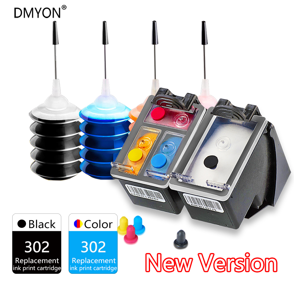DMYON 2018 New version <font><b>printer</b></font> 302 Refillable <font><b>Ink</b></font> Cartridge For <font><b>HP</b></font> <font><b>Deskjet</b></font> <font><b>2130</b></font> 1112 2131 3630 4650 officejet 5232 5220 5230 image