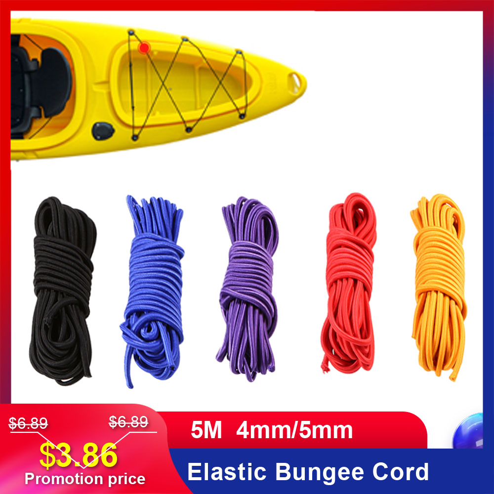 Lixada 5M 4mm/5mm Kayak Boat Elastic Bungee Cord Kayak Accessories Rope Fishing Rowing Boats Lanyard Leash Paddle Leash Boat