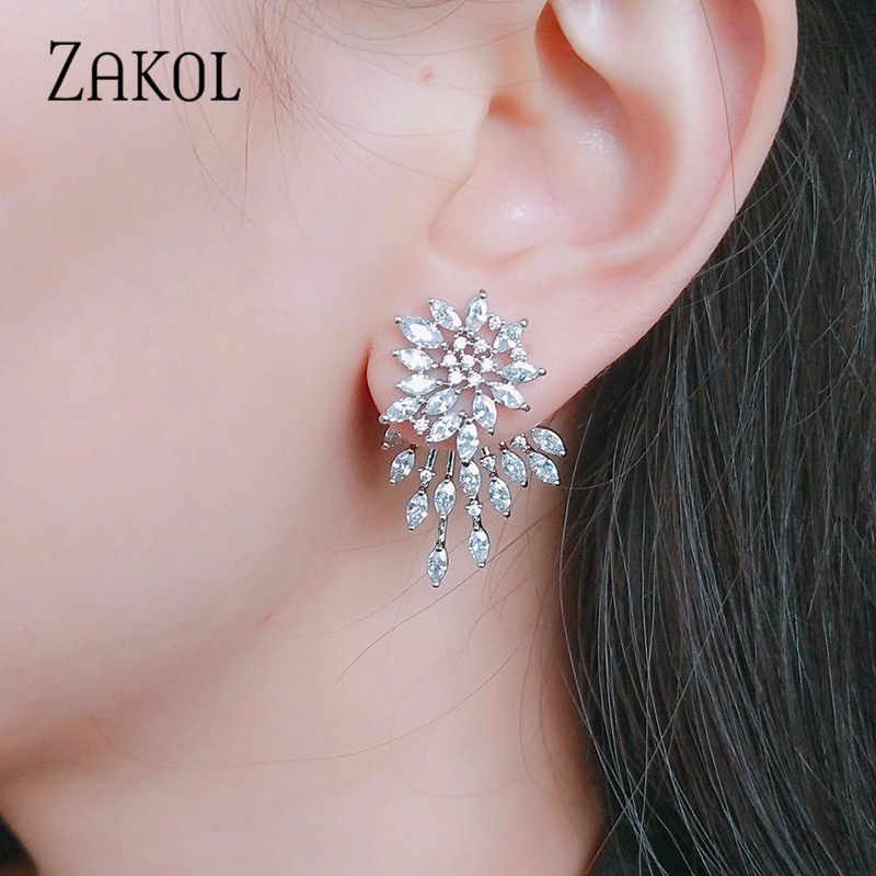 ZAKOL Cute White Gold Statement Flower Stud Earrings With CZ Zirconia Crystal For Women Jewelry Gift FSEP544